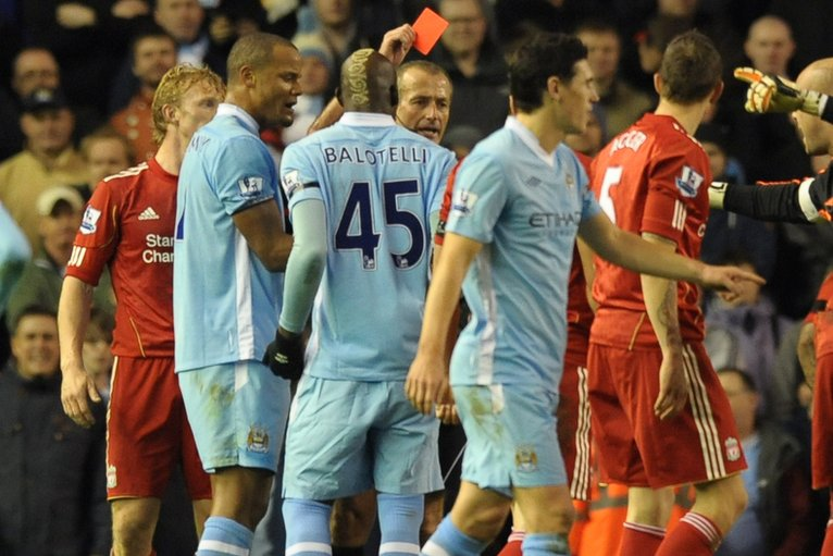 Mario Balotelli is sent off