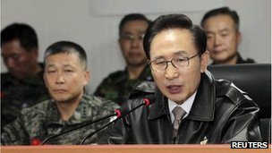 South Korean President Lee Myung-bak speaks during his visit to the Northwest Islands Defence Command in Hwaseong,  November 23