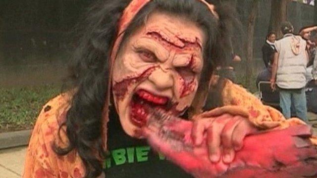"Participant on Mexico City ""zombie walk"""