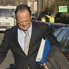Lawyer David Mills going to court, 28 Nov 11 (TV grab)