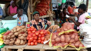 Women selling their produce at market