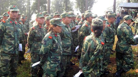 Maoist fighters in Nepal