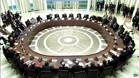 Delegates take part at the U.N. organized round table talks on Afghanistan, in the German governments Petersberg guest house in Koenigswinter near Bonn, on Tuesday, Nov. 27, 2001.