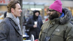 Michael Fassbender and director and co-writer Steve McQueen on the set of SHAME