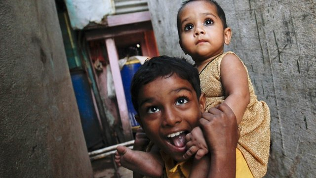Children in Dharavi, Mumbai's largest slum