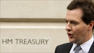 Chancellor George Osborne in front of the Treasury