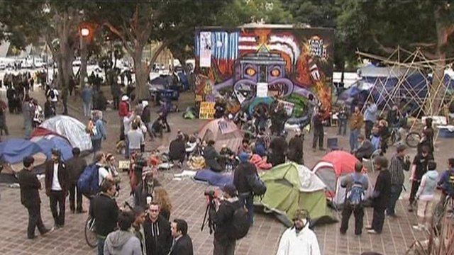 Occupy LA protesters camped in City Hall Park