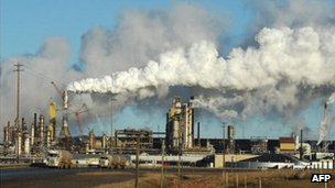 The crude oil sands extraction facility