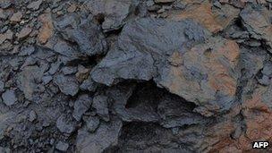 A rock containing bitumen