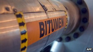 A bitumen pipe from a oil sands facility