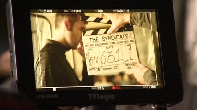 Scene from The Syndicate being shot in Leeds