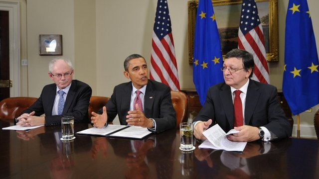 US President Barack Obama speaks following a summit with European Council President Herman Van Rompuy (L) and European Commission President Jose Manuel Barroso (R)