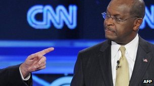 Herman Cain at a televised CNN debate 22 November 2011