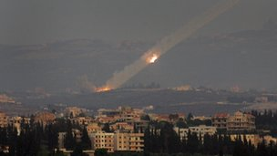 Katyusha rockets are fired from the outskirts of the southern Lebanese port city of Tyre into Israel, 6 August 2006