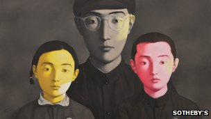 Painting entitled Bloodline Big Family number one by Chinese contemporary artist Zhang Xiaogang