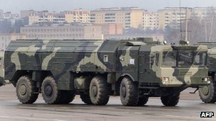 Russian Iskander ballistic missile launchers on display near Moscow, 20 April 2010