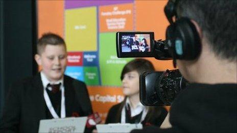 School Reporters being filmed