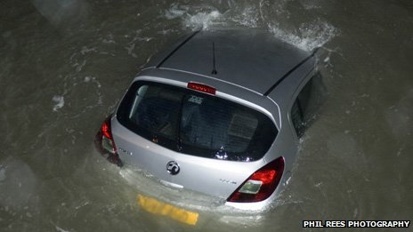 Vauxhall Corsa in the sea