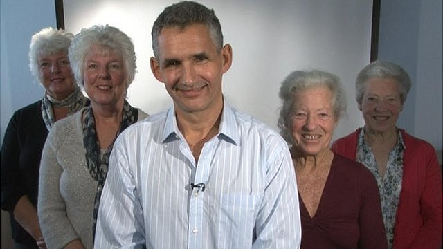 Professor Tim Spector and two sets of identical twins 