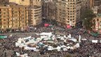 Tahrir Square is occupied by only a few hundred protesters on election day