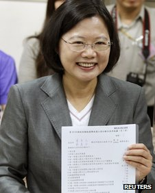 Tsai Ing-wen, showing her election registration document on 23 November 2011