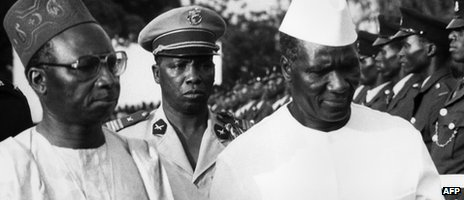 The post-independence leaders of The Gambia and Guinea, Sir Dawda Jawara (r) and Sekou Toure (R), in this file photo