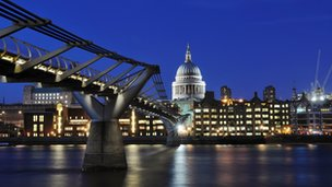 The Millennium Bridge over the Thames with St Paul's Cathedral in the background