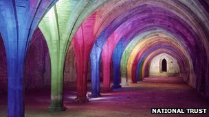 Fountains Abbey in North Yorkshire lit up