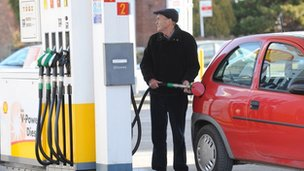 Man filling up at the petrol station