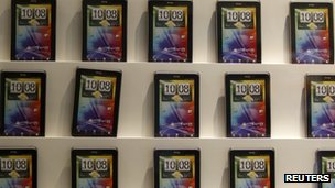 HTC mobile phones on display