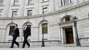 Britain's Chancellor of the Exchequer George Osborne (L) leaves the Treasury with the Chief Secretary to the Treasury Danny Alexander in central London November 29, 2011.