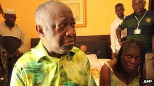 Laurent Gbagbo and his wife, Simone, after his arrest on 11 April 2011