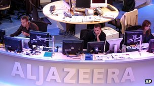The newsroom at the headquarters of Al-Jazeera