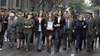 Relatives of the four killed hostages attend the funeral in Bogota