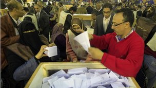 Egyptian election officials count ballots at the end of the second voting day in Cairo on 29 November 2011.