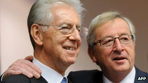 Mario Monti and Jean-Claude Juncker