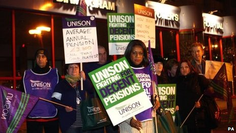 Theatre nurse Eleanor Smith (centre), President of Unison leads health workers out on strike at midnight from the Birmingham Women's Hospital