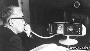 Toshiba executive with videophone in 1968