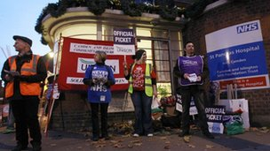 Pickets stand outside St. Pancras Hospital in London November 30, 2011