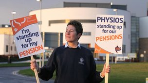 Public sector workers man a picket line at the entrance to the Forth Valley Royal Hospital in Larbert, Scotland