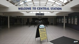 A sign warning passengers there are no services from Belfast's Central Station
