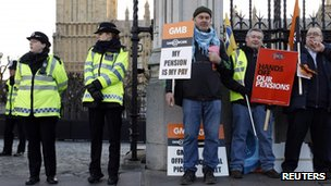 Union members protesting outside Parliament