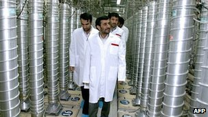 A picture released by Iran's presidency office in April 2008 shows Iranian President Mahmoud Ahmadinejad visiting the Natanz uranium enrichment facility south of Tehran