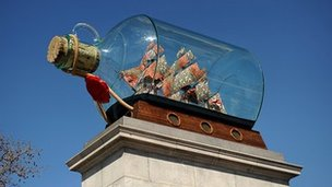 Nelson&#039;s Ship in a Bottle by Anglo-Nigerian contemporary artist Yinka Shonibare