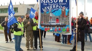 NASUWT members on strike at the Pier Head