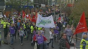Striking workers march through Bournemouth