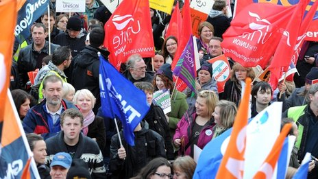 Public sector workers march through Leeds