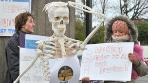 Radiographers from The Royal Liverpool Hospital, on a picket line with a skeleton
