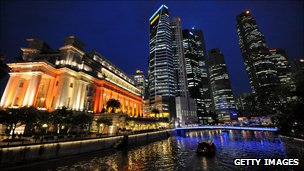 Financial district buildings of Raffles Place