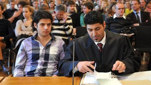 Berlin school pupil Yunus Mitschele with lawyer in court in Leipzig